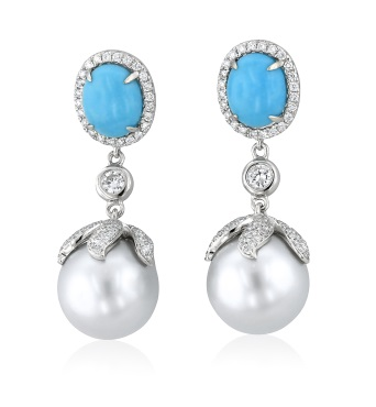 Cultured pearl, turquoise and diamond earrings, Orb Collection