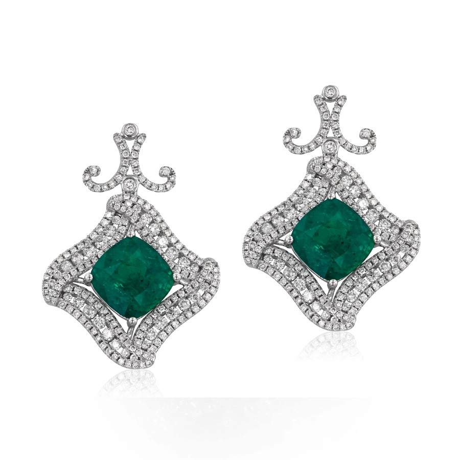 Cushion Emerald And Diamond Earrings