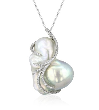 Baroque Freshwater Cultured Pearl and Diamond Pendant, Yael Designs