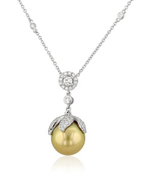 Golden cultured pearl pendant, Yael Designs