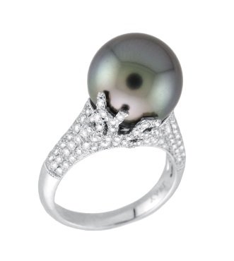 Tahitian cultured pearl and diamond ring, Orb Collection