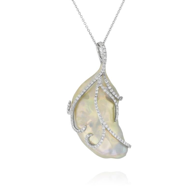 Baroque Freshwater Cultured Pearl and Diamond Pendant, Yael Designs