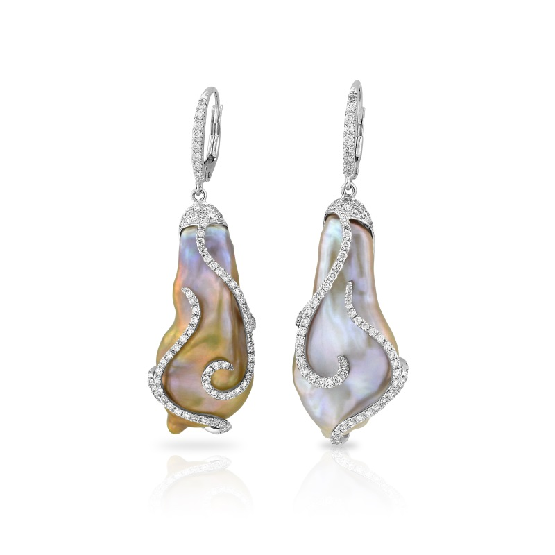 Baroque Freshwater Cultured Pearl and Diamond Earrings, Yael Designs
