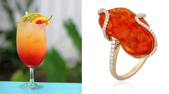 Fire Opal Diamond Fashion Ring