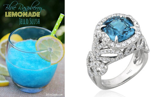Blue Zircon Diamond Ring