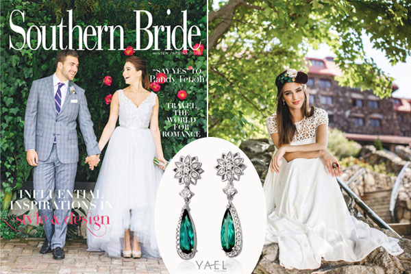 509080f5334 Southern Bride magazine features Yael Designs  18k white gold earrings  featuring 2.88 carats of green tourmaline